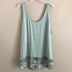 Maurices Mint and Floral Print Tank Top XL